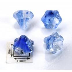 Clopotei 10x9 mm - margele sticla presata Cehia flori - crystal/nuante de albastru (2 bucati)