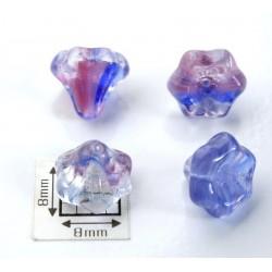 Clopotei 10x9 mm - margele sticla presata Cehia flori - crystal/albastru/rosu (2 bucati)
