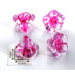 Clopotei 13x11mm - margele sticla presata cehia flori - crystal/pink lined (2 bucati) b69