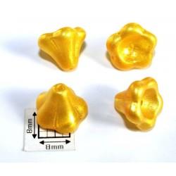 Clopotei 13x11mm - margele sticla presata cehia flori - galben mat metalizat(2 bucati) b75