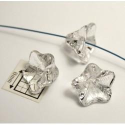 Clopotei 11x13 mm - margele sticla presata Cehia flori - culoare cristal (2 bucati)