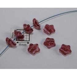 Margele sticla Cehia forma floare capat bila 7mm culoare nuante rosu (20 buc) FL-05