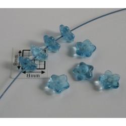 Margele sticla Cehia forma floare capat bila 7mm culoare albastru transparent (20 buc)