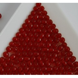 Margele sticla presata rotunde 3mm, rosu deschis transparent (5g)
