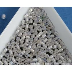 Margele sticla presata rotunde 3mm, cristal/iris (5g)