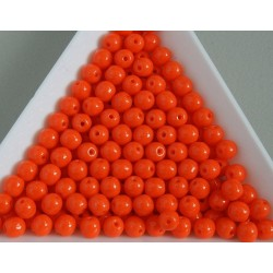 Margele sticla presata rotunde 4mm, orange opac (10g)