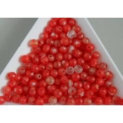 Margele sticla presata rotunde 4mm, rosu/cristal semiopac (10g)