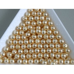 Margele sticla presata rotunde 4mm, perla crem (10g)