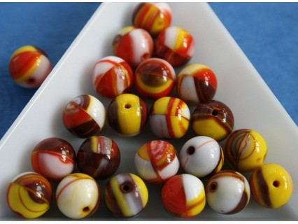 Margele sticla presata rotunde 8mm, mix nuante alb/maro/galben/rosu opac (10 buc)