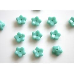Margele sticla Cehia forma floare capat bila 7mm culoare turquoise (20 buc)