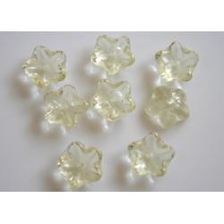 Margele sticla Cehia forma floare capat bila 10mm culoare lt lemon (10 buc) FL-15