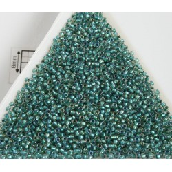 Toho R15-264, Inside-Color Rainbow Crystal/Teal-Lined, 5g