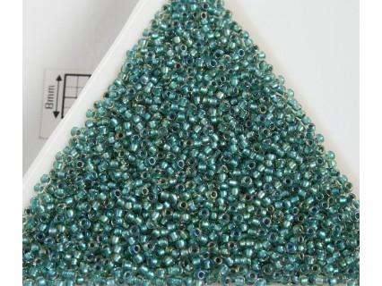 Toho R15-264, Inside-Color Rainbow Crystal/Teal-Lined, 5g