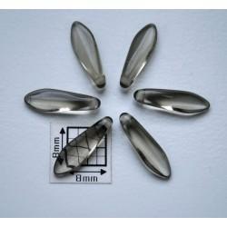 Margele sticla Cehia daggers cca 5 x 16 mm culoare fumuriu transparent (10 buc) D15.