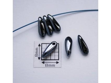 Margele sticla Cehia daggers cca 3 x 10 mm culoare hematit (3 gr) DG-037