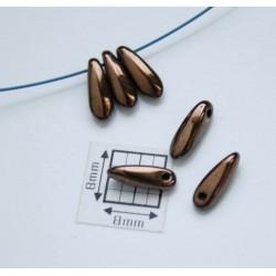 Margele sticla Cehia daggers cca 3 x 10 mm culoare cupru (3 gr) DG-038.