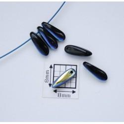 Margele sticla Cehia daggers cca 3 x 11 mm culoare negru/albastru metalizat AB (3 gr) DG-039
