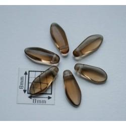 Margele sticla Cehia daggers cca 5 x 12 mm culoare maro transparent (10 buc) DG-043