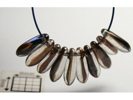 Margele sticla Cehia daggers cca 3 x 10 mm culoare cristal/maro (3 gr) DG-056