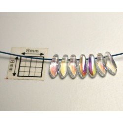 Margele sticla Cehia daggers cca 3 x 8 mm culoare cristal clar AB (3gr) DG-060