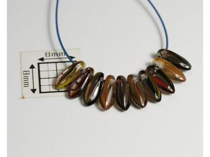 Margele sticla Cehia daggers cca 3 x 8 mm culoare nuante de maro/cristal (3 gr) DG-062