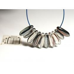 Margele sticla Cehia daggers cca 3 x 10 mm culoare cristal/maro/argintiu perlat (3 gr) DG-063.
