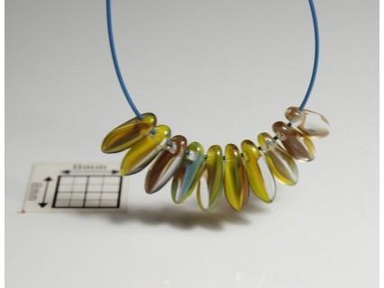 Margele sticla Cehia daggers cca 3 x 8 mm culoare cristal/nuante de galben/verde/maro (3 gr) DG-064