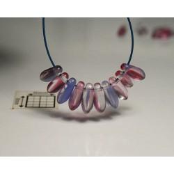 Margele sticla Cehia daggers cca 3 x 8 mm culoare cristal/rosu/albastru (3 gr) DG-067