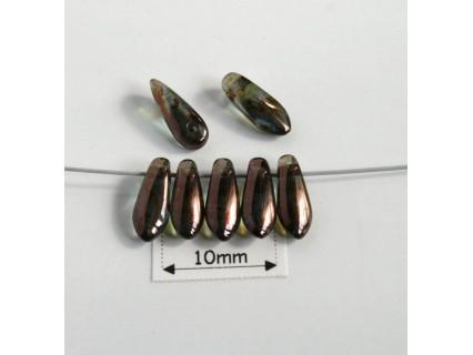 Margele sticla Cehia daggers cca 3 x 8 mm culoare cristal green lustered (3 gr) DG-079.