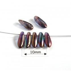 Margele sticla Cehia daggers cca 3 x 8 mm culoare cristal vega iris (3 gr) DG-081