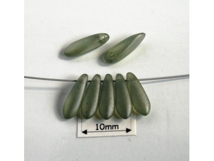 Margele sticla Cehia daggers cca 3 x 11 mm culoare crystal matt green (3 gr) DG-083