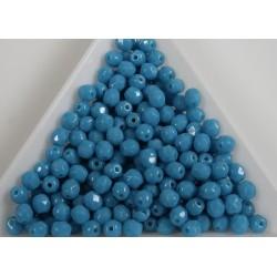 FP 4 - margele sticla Cehia firepolish 4 mm opaque blue turquoise (100 buc) CE-04-377