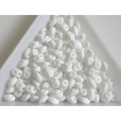 Superduo - margele sticla Cehia forma superduo 2.5 x 3 x 5 mm culoare opaque white matte (5 gr) T103