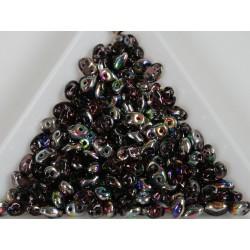 Superduo - margele sticla Cehia forma superduo 2.5 x 3 x 5 mm culoare vitral amethyst (5 gr) T105
