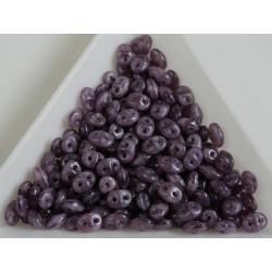 Superduo - margele sticla Cehia forma superduo 2.5 x 3 x 5 mm culoare opal violet (5 gr) T106