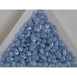 Superduo /- margele sticla Cehia forma superduo 2.5 x 3 x 5 mm culoare luster opal sapphire (5 gr) T117