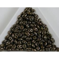Superduo /- margele sticla Cehia forma superduo 2.5 x 3 x 5 mm culoare opaque olivine bronze picasso (5 gr) T120.