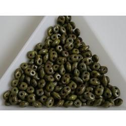 Superduo /- margele sticla Cehia forma superduo 2.5 x 3 x 5 mm culoare opaque olivine picasso (5 gr) T121