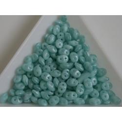Superduo /- margele sticla Cehia forma superduo 2.5 x 3 x 5 mm culoare luster milky seafoam (5 gr) T124
