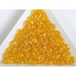 Superduo /- margele sticla Cehia forma superduo 2.5 x 3 x 5 mm culoare luster jonquile (5 gr) T129