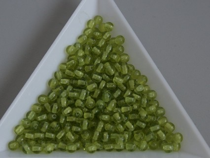 Margele sticla presata rotunde 3mm, transparent olivine (5g)
