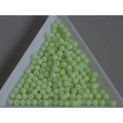 Margele sticla presata rotunde 3mm, lt. green white luster (5g)