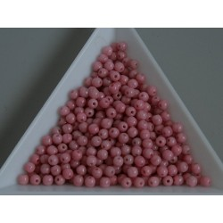 Margele sticla presata rotunde 3mm, opaque coral pink (5g)
