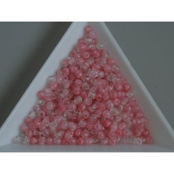 Margele sticla presata rotunde 3mm, crystal half milky pink (5g)