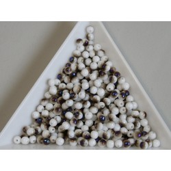 Margele sticla presata rotunde 3mm, chalk white azzuro (5g)