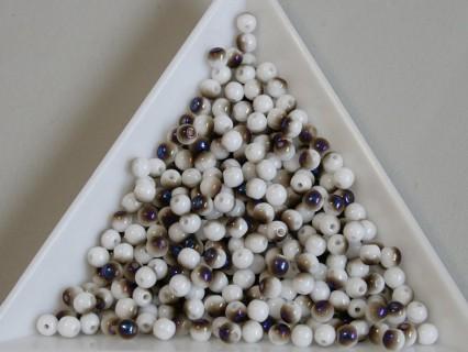 Margele sticla presata rotunde 3mm, chalk white azzuro (5g)