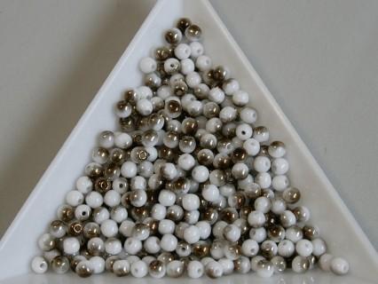 Margele sticla presata rotunde 3mm, chalk white brass (5g)
