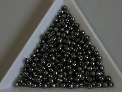 Margele sticla presata rotunde 3mm, jet full chrome (5g)