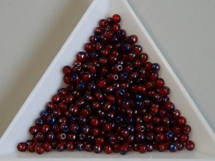 Margele sticla presata rotunde 3mm, siam ruby cobalt lustered (5g)