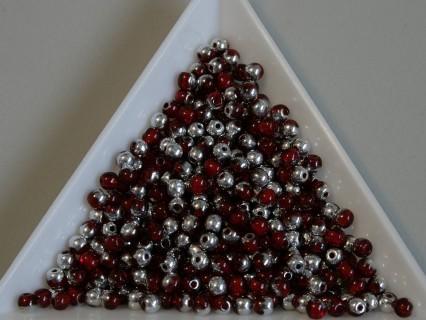 Margele sticla presata rotunde 3mm, siam ruby half silver lustered (5g)